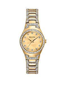 Bulova Womens Two-Tone Crystal Accented Bracelet Watch