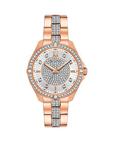Bulova Women's Rose Gold-Tone Crystal Watch