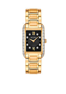 Bulova Women's Gold-Tone Diamond Dial Watch