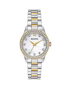 Bulova Women's Two-Tone Crystal Watch Boxed Set