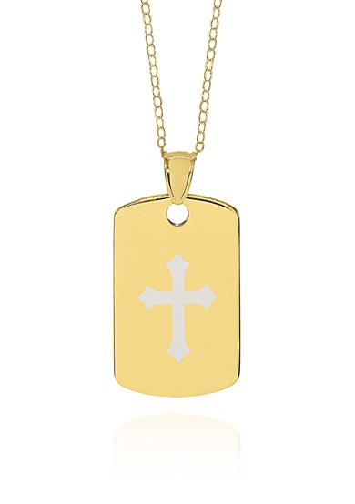 Belk & Co. 10k Yellow Gold Cross Dog Tag Pendant