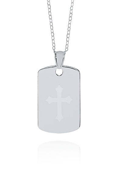 Belk & Co. Sterling Silver Cross Dog Tag Pendant