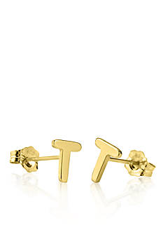 Belk & Co. 14k Yellow Gold T Initial Earrings