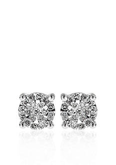 Belk & Co. Diamond Solitaire Cluster Earrings in Sterling Silver