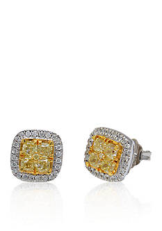 Belk & Co. Yellow and White Diamond Earrings in 14k White Gold with 14k Yellow Gold