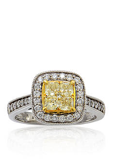Belk & Co. Yellow and White Diamond Ring in 14k White Gold with 14k Yellow Gold