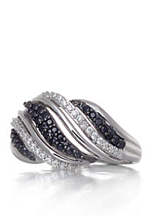 black white diamond ring in sterling silver - Clearance Wedding Rings