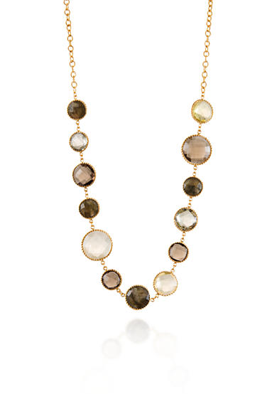 Piara by Elaine J® Sterling Silver 18k Yellow Gold Plated Multi Gemstone Necklace
