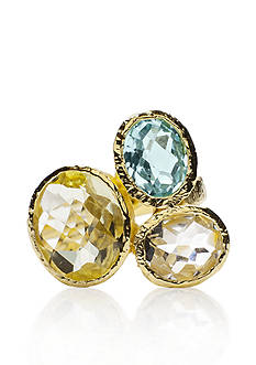 Piara by Elaine J Sterling Silver 18k Yellow Gold Plated Multi Gemstone Ring