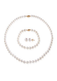 Belk & Co. Freshwater Pearl 14k Yellow Gold 3 Piece Boxed Set