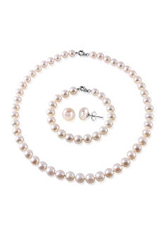 Belk & Co. Freshwater Pearl Sterling Silver 3 Piece Boxed Set
