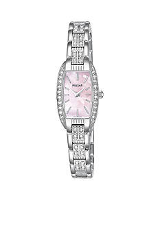 Pulsar Women's Pink Mother Of Pearl and Crystal Stainless Steel Watch