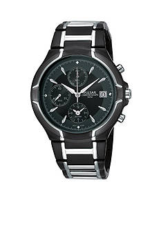 Pulsar Men's Black Ion finish Two-Tone Alarm Chronograph Watch