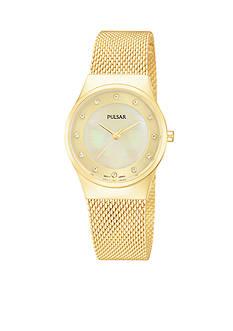 Pulsar Women's Gold-Tone Stainless Steel Mesh Bracelet Watch