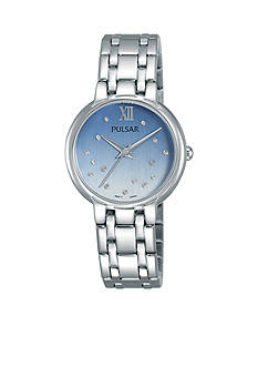 Pulsar Women's Silver-Tone With Swarovski Crystal Accent Watch