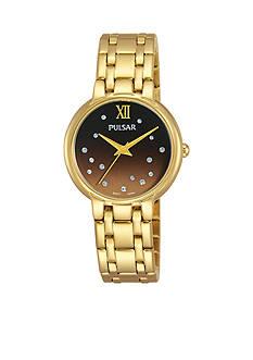 Pulsar Women's Gold-Tone With Swarovski Crystal Watch