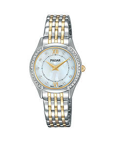 Pulsar Women's Two-Tone Mother of Pearl and Swarovski Accents Watch
