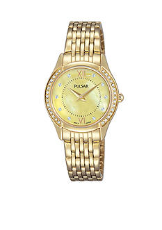 Pulsar Women's Gold-Tone Mother of Pearl and Swarovksi Crystal Accents Watch