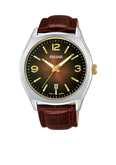Pulsar Men's Traditional Brown Leather Watch