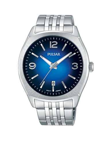 Pulsar Men's Traditional Silver-Tone Blue Dial Watch