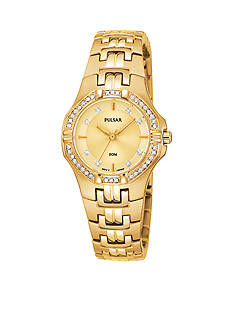 Pulsar Women's Gold-Tone Crystal Bezel Stainless Steel Dress Watch