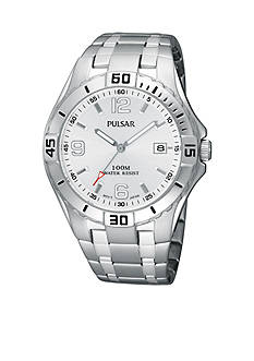 Pulsar Men's Silver Tone Stainless Steel Silver Dial Sports Watch