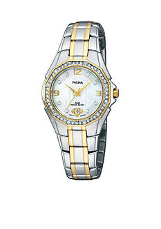 Pulsar Women's Crystal Accented Mother of Pearl Dial Watch