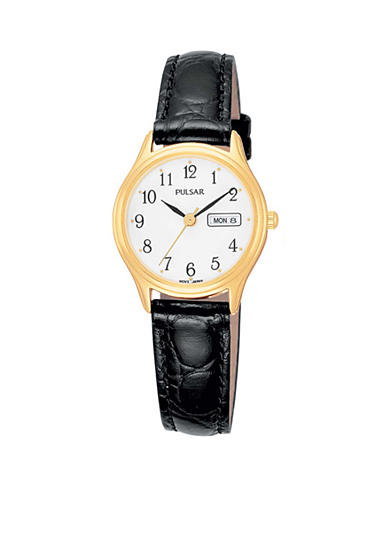 Pulsar Women's Gold-Tone Black Leather Casual Watch