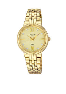 Pulsar Women's Solar Gold-Tone Swarovski Crystal Accents Watch