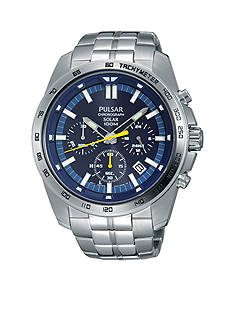 Pulsar Men's Solar Chronograph Silver-Tone with Blue Dial Watch