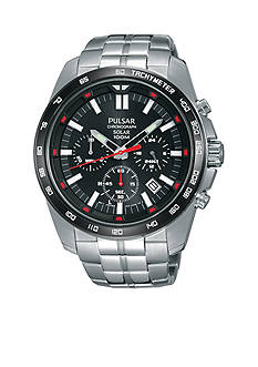 Pulsar Men's Solar Chronograph Silver-Tone with Black Dial Watch