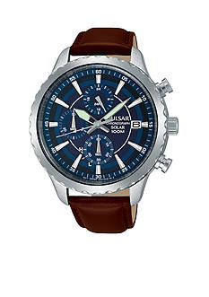 Pulsar Men's Solar Chronograph Blue Dial Leather Watch