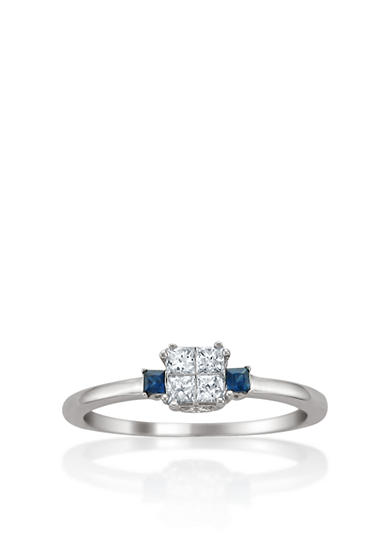Belk & Co. 1/3 ct. t.w. Diamond and Sapphire Engagement Ring in 14k White Gold