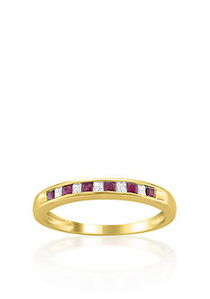 Belk & Co. 14k Yellow Gold Ruby and Diamond Wedding Band