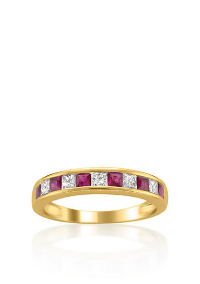 Belk & Co. 14k Yellow Gold Ruby and Diamond Wedding Band