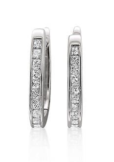 Belk & Co. Diamond Hoop Earrings in 14k White Gold