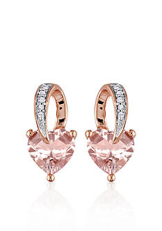 Belk & Co. 10k Rose Gold Morganite Heart Earrings