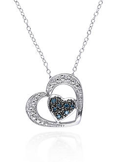 Belk & Co. Blue Diamond Heart Pendant in Sterling Silver