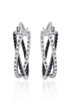 Belk & Co. Black and White Diamond Hoop Earrings in Sterling Silver