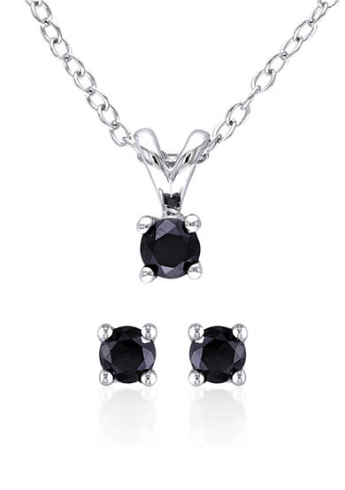 Belk & Co. Black Diamond Solitaire Earrings and Pendant Set<br>