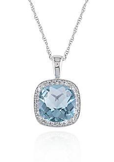 Belk & Co. 10k White Gold Blue Topaz and Diamond Pendant