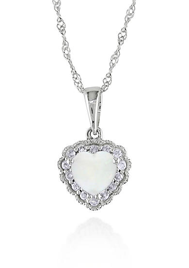 Belk & Co. 10k White Gold Opal Heart Pendant