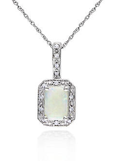 Belk & Co. 10k White Gold Opal Pendant