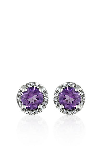 Belk & Co. 10k White Gold Amethyst Stud Earrings