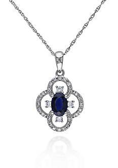 Belk & Co. 10k White Gold Sapphire and Diamond Pendant