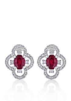 Belk & Co. 10k White Gold Ruby and Diamond Stud Earrings