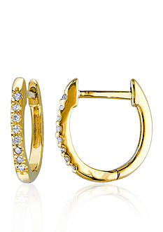 Belk & Co. Diamond Hoop Earrings in 10k Yellow Gold