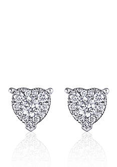 Belk & Co. Diamond Heart Stud Earrings in 14k White Gold