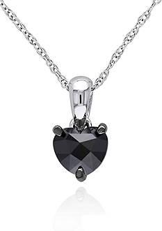 Belk & Co. Black Diamond Solitaire Heart Pendant in 10k White Gold