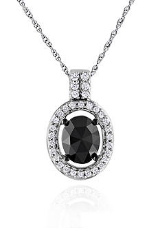 Belk & Co. Black and White Diamond Oval Pendant in 14k White Gold